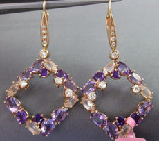 8.60CT DIAMOND & AAA AMETHYST PINK QUARTZ 14KT ROSE GOLD ETOILE HANGING EARRINGS