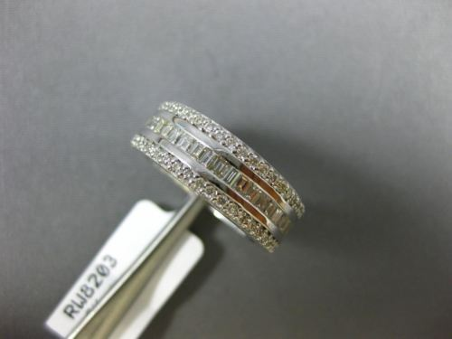 WIDE 1.36CT ROUND & BAGUETTE DIAMOND 18KT WHITE GOLD SEMI ETERNITY WEDDING RING