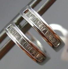 ESTATE .29CT BAGUETTE DIAMOND 14K WHITE GOLD 3D CLASSIC HUGGIE HOOP EARRINGS 2mm