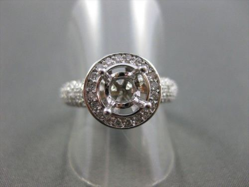 ESTATE .88CT DIAMOND 14KT WHITE GOLD ROUND HALO SEMI MOUNT ENGAGEMENT RING #2625