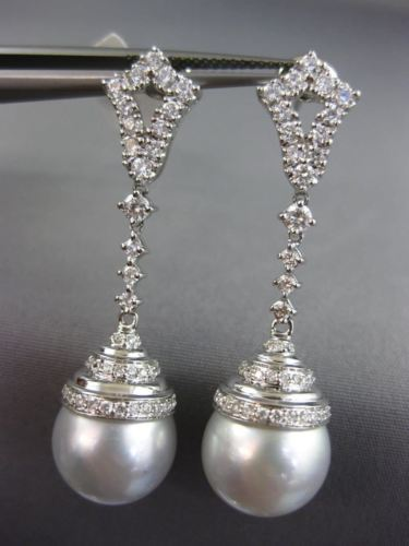 LARGE .90CT DIAMOND & AAA SOUTH SEA PEARLS 18KT WHITE GOLD 3D HANGING EARRINGS