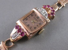 ANTIQUE .52CTW OLD MINE CUT DIAMOND RUBY 14KT WHITE ROSE GOLD NARDO WATCH #2534