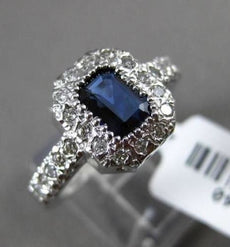 ESTATE 1.40CT DIAMOND & AAA SAPPHIRE 14KT WHITE GOLD HALO PAVE ENGAGEMENT RING