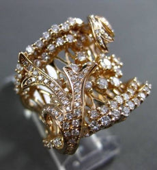 ESTATE LARGE 2.10CT ROUND DIAMOND 18K ROSE GOLD FILIGREE COCKTAIL RING BEAUTIFUL