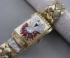 "ANTIQUE 1.43CTW DIAMOND RUBY 14K W&Y GOLD PHILLIPE HIDDEN WATCH 6.5"" 18MM 21335"