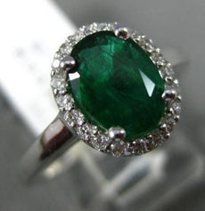 1.29CT DIAMOND & AAA OVAL EMERALD 14K WHITE GOLD 3D HALO CLASSIC ENGAGEMENT RING