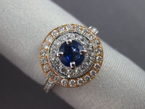 ESTATE 1.20CT DIAMOND & SAPPHIRE 14KT TWO TONE GOLD DOUBLE HALO ENGAGEMENT RING