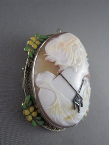 ANTIQUE .05CT DIAMOND 14KT WHITE FILIGREE ENAMEL LADY CAMEO BROOCH PENDANT 1809