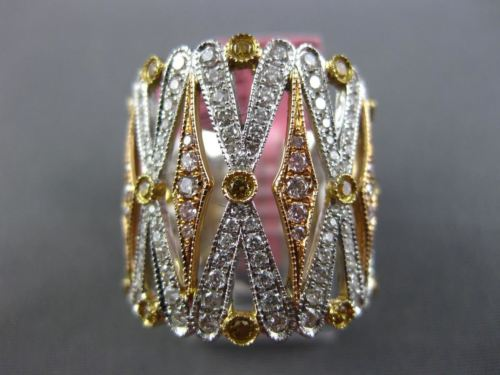 LARGE 1.74CT WHITE PINK & FANCY YELLOW DIAMOND 18KT TRI COLOR GOLD FILIGREE RING