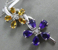 LARGE 3.80CT DIAMOND & AAA AMETHYST & CITRINE 14K WHITE GOLD 3D FLOATING PENDANT