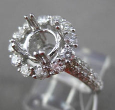 ESTATE LARGE .98CT DIAMOND 18KT WHITE GOLD 3D HALO SEMI MOUNT ENGAGEMENT RING