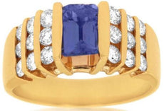 ESTATE WIDE 2.08CT DIAMOND & TANZANITE 14KT YELLOW GOLD 3D 3 ROW ENGAGEMENT RING