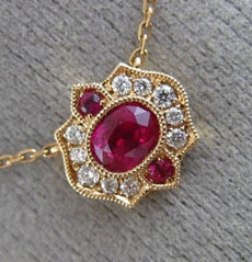 ESTATE .59CT DIAMOND & AAA RUBY 18K ROSE GOLD FILIGREE MILGRAIN HEXAGON NECKLACE