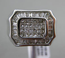ESTATE LARGE 1CT PRINCESS & BAGUETTE DIAMOND 14KT WHITE GOLD HEXAGON MENS RING