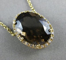 ESTATE LARGE 8.82CT ROUND DIAMOND & SMOKEY TOPAZ 14KT YELLOW GOLD HALO NECKLACE