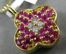 LARGE 1.40CT DIAMOND & AAA PINK SAPPHIRE 14KT YELLOW GOLD 3D FOUR CLOVER PENDANT