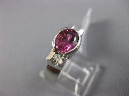 WIDE 1.64CT DIAMOND & AAA OVAL PINK TOPAZ 14K WHITE GOLD 3 STONE ENGAGEMENT RING