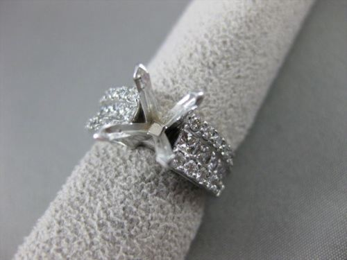 ESTATE WIDE .94CT DIAMOND 14KT WHITE GOLD SEMI MOUNT ENGAGEMENT RING CUTE! #2869