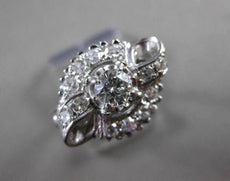 ANTIQUE WIDE .65CT DIAMOND 14KT WHITE GOLD FILIGREE BOW ENGAGEMENT RING #5326