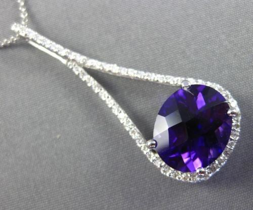 ESTATE X LARGE 4.69CT DIAMOND & AAA AMETHYST 14KT WHITE GOLD PEAR SHAPE PENDANT