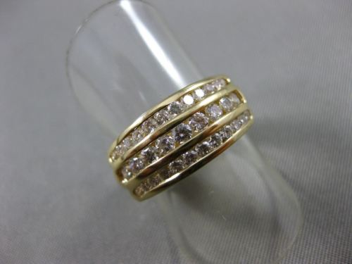 ESTATE WIDE 1.10CT ROUND DIAMOND 14KT YELLOW GOLD 3 ROW WEDDING BAND RING #5958