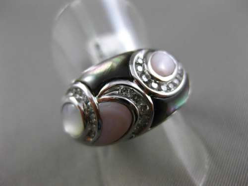ESTATE WIDE .32CT DIAMOND 14KT WHITE GOLD AAA MOTHER OF PEARL 3D LEAF FUN RING
