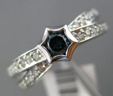 ESTATE .48CT WHITE & BLUE DIAMOND 14KT WHITE GOLD 3D SOLITAIRE STAR X LOVE RING