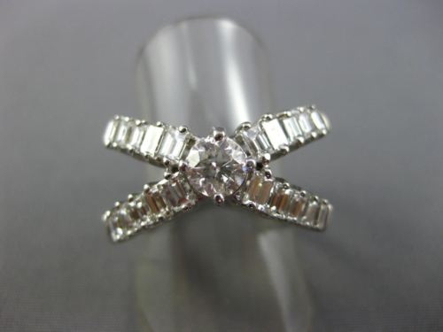 LARGE ROUND & BAGUETTE 2.10CT DIAMOND 14KT WHITE GOLD CRISS CROSS LOVE RING 664