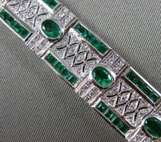 ESTATE WIDE 8.47CT DIAMOND & EMERALD 14KT WHITE GOLD HANDCRAFTED TENNIS BRACELET