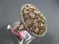 GIA EXTRA LARGE 4.61CT WHITE & PINK DIAMOND 18KT ROSE GOLD 3D OVAL COCKTAIL RING
