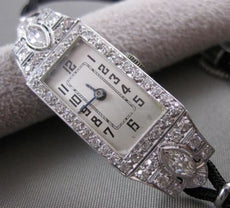 ANTIQUE LARGE 1.72CTW EURO MINE CUT DIAMOND PLATINUM DECO MECHANICAL WATCH #2584