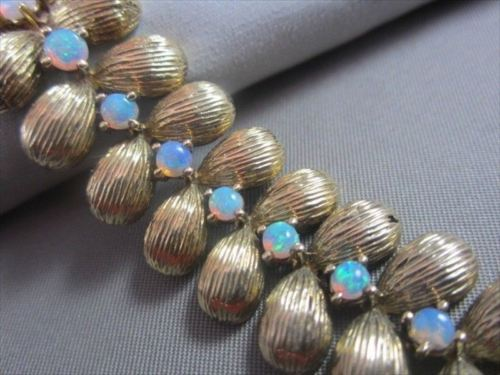 "ANITQUE WIDE 14KT YELLOW GOLD & AAA OPAL 19MM WIDE 7.5"" LONG BRACELET #640"