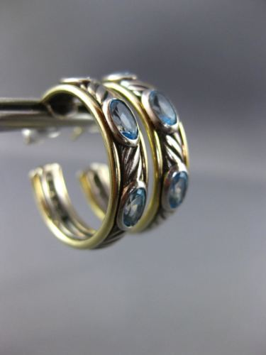 WIDE DAVID YURMAN 2.0CT BLUE TOPAZ 18K YELLOW GOLD & 925 SILVER 3D HOOP EARRINGS