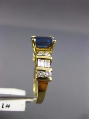 2.61CT ROUND & BAGUETTE DIAMOND & SAPPHIRE 14KT YELLOW GOLD ENGAGEMENT RING #179