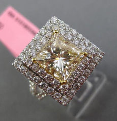 ESTATE LARGE GIA 3.86CT WHITE FANCY YELLOW DIAMOND 18K GOLD HALO ENGAGEMENT RING