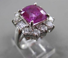 ESTATE LARGE 5.87CT DIAMOND & AAA PINK SAPPHIRE 18KT WHITE GOLD ENGAGEMENT RING