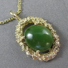 ANTIQUE LARGE 14KT YELLOW GOLD SOLITAIRE AAA OVAL JADE FILIGREE PENDANT #22662