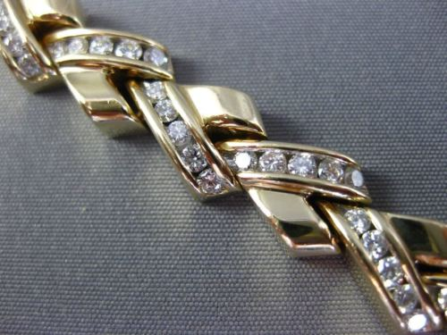 ESTATE WIDE 5CT DIAMOND 14KT YELLOW GOLD 3D CRISS CROSS V SHAPE TENNIS BRACELET