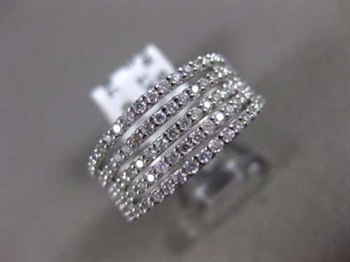 WIDE .78CT DIAMOND 18KT WHITE GOLD 3D SEMI ETERNITY MULTI ROW ANNIVERSARY RING