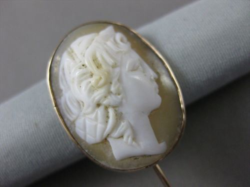 ANTIQUE 14KT YELLOW GOLD HANDCRAFTED LIGHT PINK CAMEO LAPEL PIN AMAZING!! #22663
