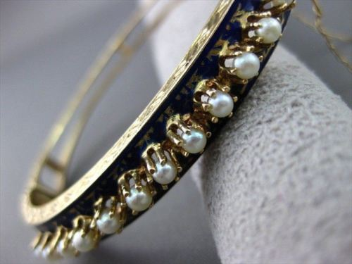 ANTIQUE WIDE 14KT Y VICTORIAN BLUE ENAMEL SOUTH SEA PEARL FILIGREE BANGLE #1746