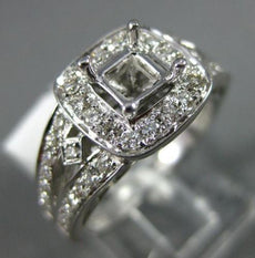 WIDE .65CT DIAMOND 14KT WHITE GOLD 3D SQUARE HALO SEMI MOUNT ENGAGEMENT RING