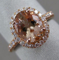ESTATE 2.24CT DIAMOND & AAA MORGANITE 14K ROSE GOLD 3D OVAL HALO ENGAGEMENT RING