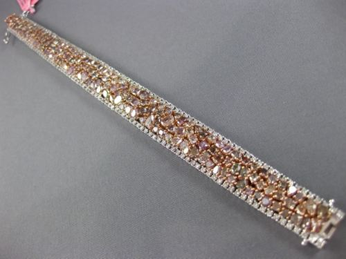 WIDE 22.84CT WHITE & PINK DIAMOND 18KT WHITE & ROSE GOLD CLUSTER TENNIS BRACELET