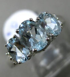 ESTATE 2.68CT DIAMOND & BLUE TOPAZ 14KT WHITE GOLD PAST PRESENT FUTURE LOVE RING