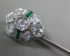 ANTIQUE .13CT OLD MINE DIAMOND & EMERALD PLATINUM 3D PEAR SHAPE LAPEL PIN BROOCH