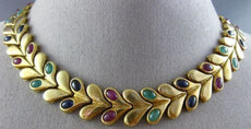 ANTIQUE 26.0CT MULTIGEM 18K YELLOW GOLD HANDCRAFTED LEAF HEART ETERNITY NECKLACE