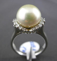 ESTATE .35CT DIAMOND & SOUTH SEA PEARL PLATINUM SOLITAIRE HALO ENGAGEMENT RING