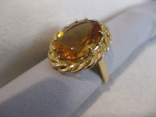 ANTIQUE LARGE 20.0CT CITRINE 14KT YELLOW GOLD WOVEN FILIGREE COCKTAIL RING #8881