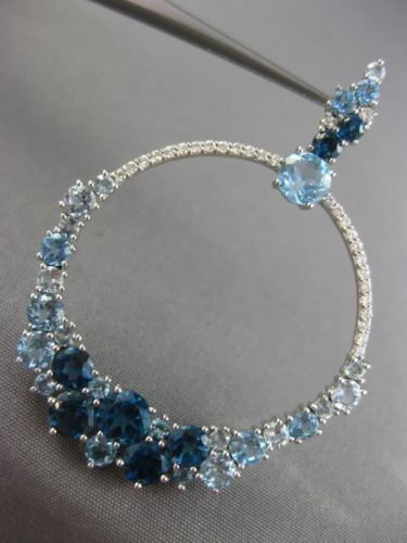 LARGE .74CT DIAMOND & AAA AQUAMARINE BLUE TOPAZ 14KT WHITE GOLD HANGING EARRINGS